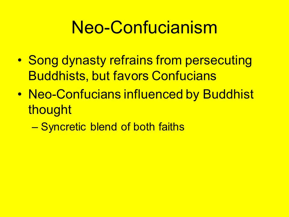 Persecution of Buddhists Daoist/Confucian persecution supported in late Tang dynasty 840s begins systematic closure of Buddhist temples, expulsions –Zoroastrians, Christians, Manicheans as well Economic motive: seizure of large monastic landholdings Limits growth but does not eradicate faiths