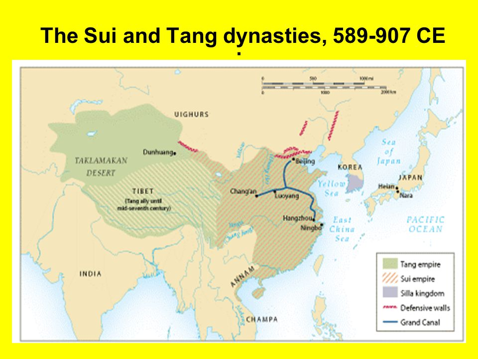 The Tang Dynasty (618-907 CE) Wide discontent over conscripted labor in Sui dynasty Military failures in Korea prompt rebellion Emperor assassinated in 618 –Tang Dynasty initiated
