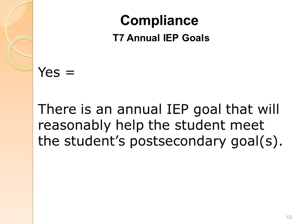 Compliance Compliance T7 Annual IEP Goals Yes = There is an annual IEP goal that will reasonably help the student meet the student's postsecondary goal(s).