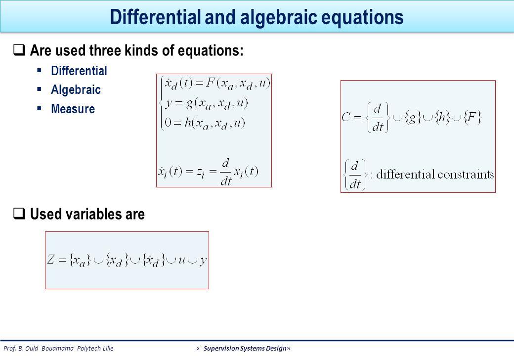 Hydraulic example Tank dx(t)/dt - q i (t) + q o (t) = 0 Input valve c 2 : q i (t) - αu(t) = 0 Output pipe c 3 : q 0 (t) - k v (x(t)) = 0 Level sensor 1 c 4 : y 1 (t) - x(t) = 0 Level sensor 2 c 5 : y 2 (t) - x(t) = 0 Output flow sensor c 6 : y 3 (t) - q o (t) = 0 Control algorithm c 7 : u(t) = 1 if lmin  y 1 (t)  lmax u(t) = 0 else U(t) y1y1 y2y2 y3y3 qiqi q0q0 LC x=volume