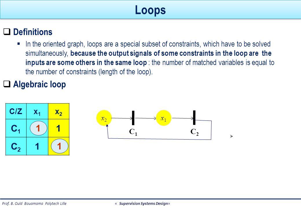 Differential loop: example V C2C2 C4C4 qiqi C1C1 z q0q0 R V Differential loop 1) Using derivative causality : there is no solution 2) Using integral causality : there is one solution if initial condition is known V C2C2 qiqi C1C1 q0q0 q0q0