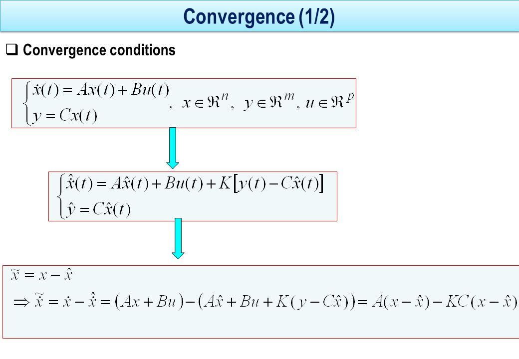 Convergence (2/2)  Erreur d'estimation  s'annule exponentiellement si (A-KC) est asymptotiquement stable i.e.