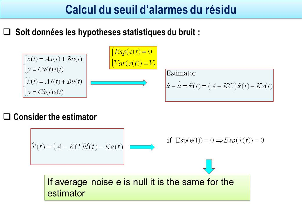 Calculation of the alarm threshold of the residue  Equation variance propagation  Application to the error estimation