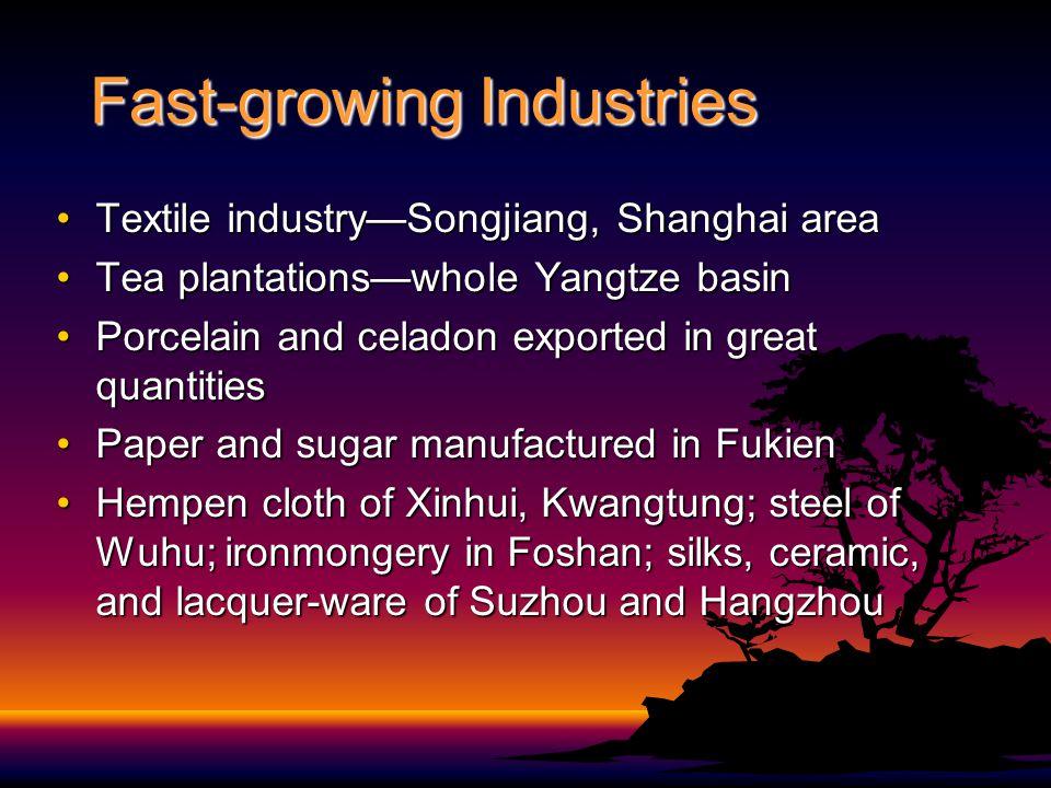 Fast-growing Industries Textile industry—Songjiang, Shanghai areaTextile industry—Songjiang, Shanghai area Tea plantations—whole Yangtze basinTea plan