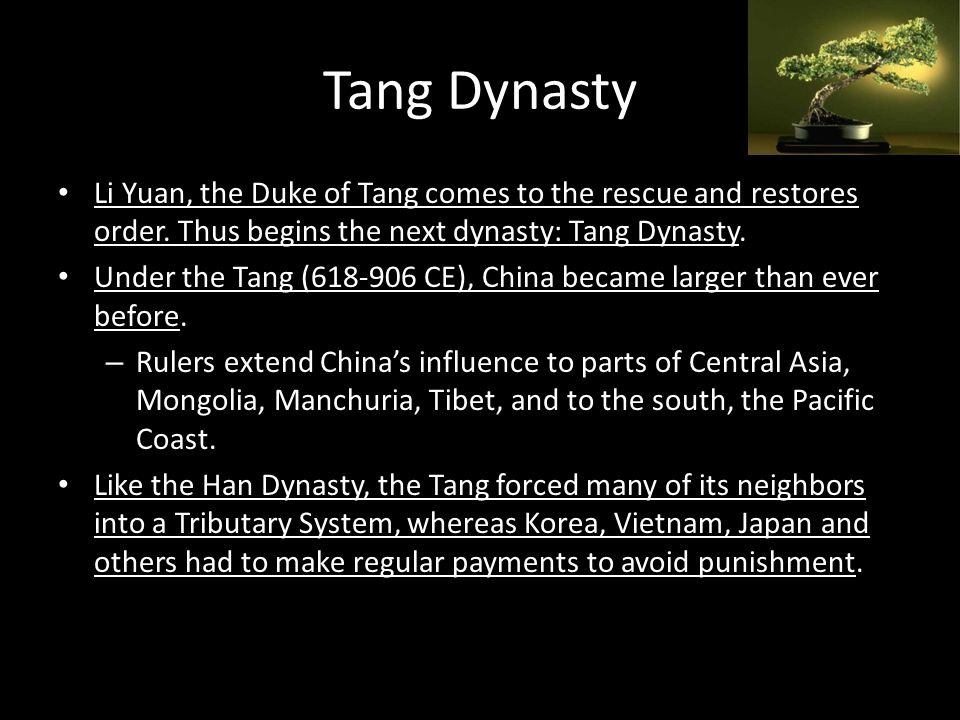 Tang Decline During the 800's, a series of peasant rebellions and military disasters weakened the Tang, & the heart- broken Yang Guifei was incapable of maintaining order.