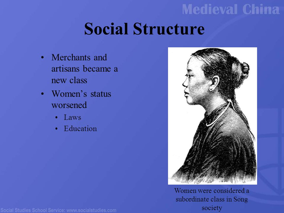 Social Structure Merchants and artisans became a new class Women's status worsened Laws Education Women were considered a subordinate class in Song society