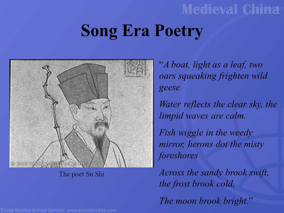 Song Era Poetry A boat, light as a leaf, two oars squeaking frighten wild geese Water reflects the clear sky, the limpid waves are calm.