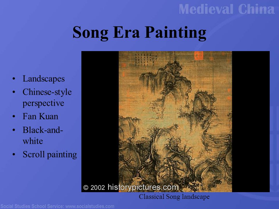 Song Era Painting Landscapes Chinese-style perspective Fan Kuan Black-and- white Scroll painting Classical Song landscape