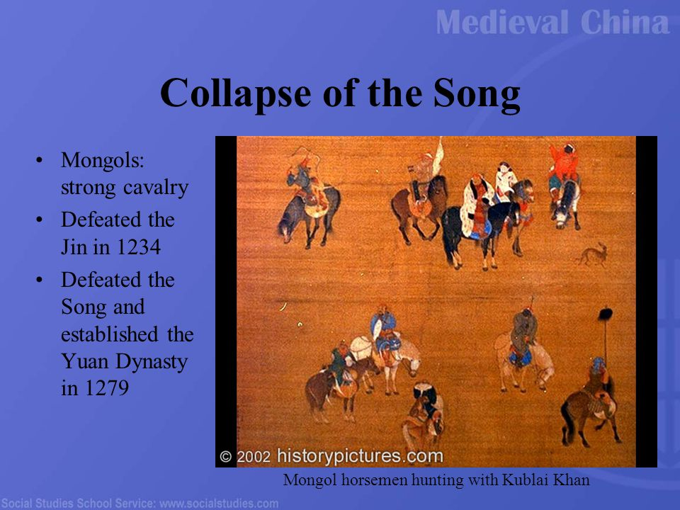 Collapse of the Song Mongols: strong cavalry Defeated the Jin in 1234 Defeated the Song and established the Yuan Dynasty in 1279 Mongol horsemen hunting with Kublai Khan