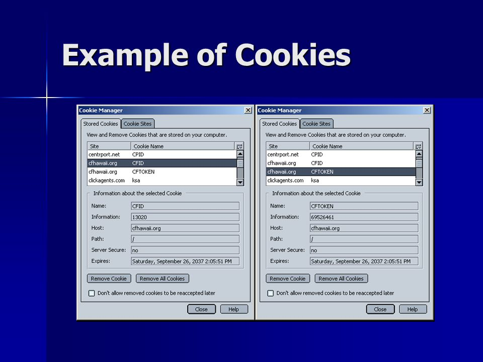 Example of Cookies