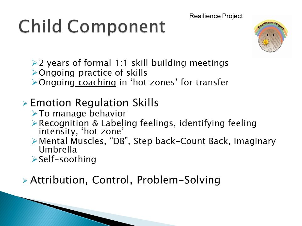  2 years of formal 1:1 skill building meetings  Ongoing practice of skills  Ongoing coaching in 'hot zones' for transfer  Emotion Regulation Skill