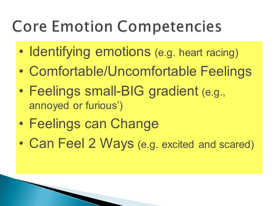 Increase self-control Identifying emotions (e.g. heart racing) Comfortable/Uncomfortable Feelings Feelings small-BIG gradient (e.g., annoyed or furiou