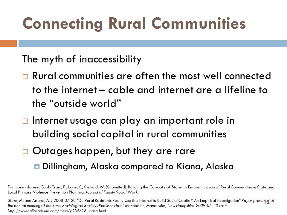 Connecting Rural Communities The myth of inaccessibility  Rural communities are often the most well connected to the internet – cable and internet ar