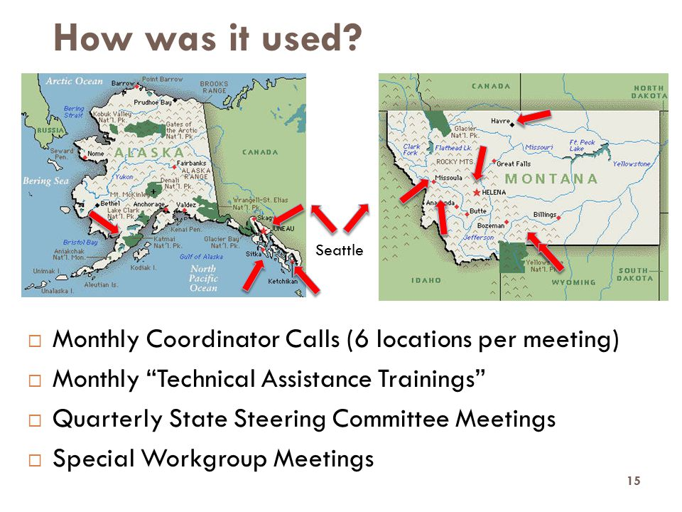 "How was it used?  Monthly Coordinator Calls (6 locations per meeting)  Monthly ""Technical Assistance Trainings""  Quarterly State Steering Committee"
