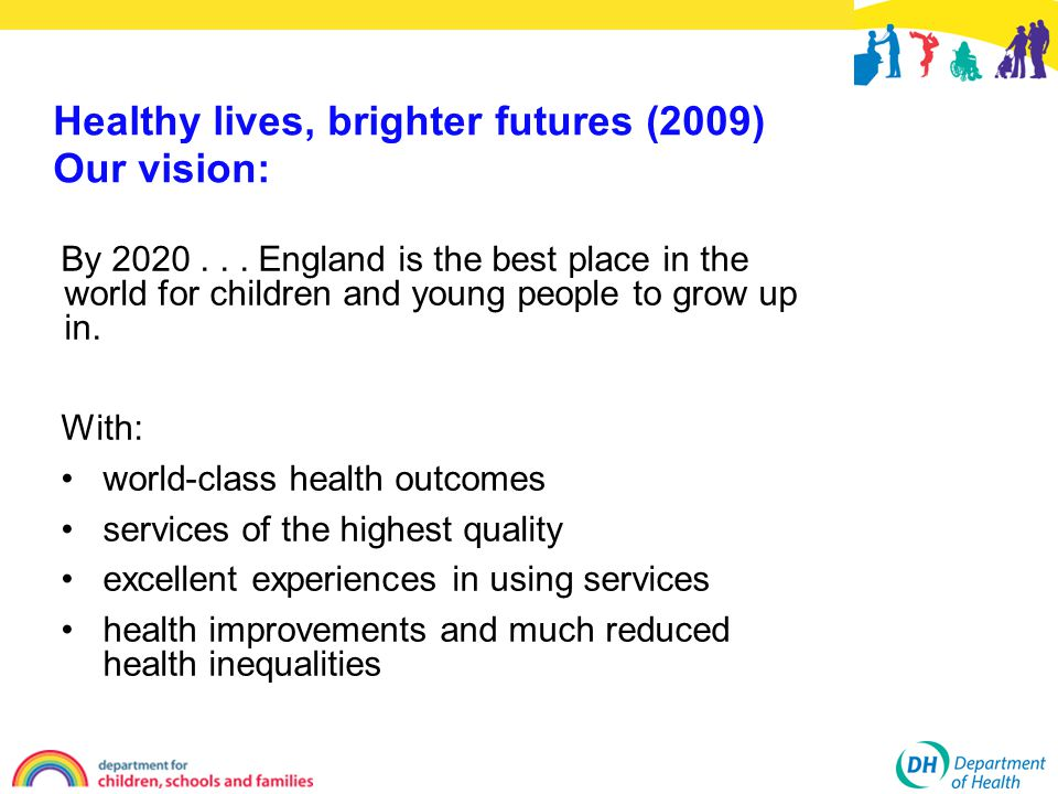 Healthy lives, brighter futures (2009) Our vision: By 2020... England is the best place in the world for children and young people to grow up in. With