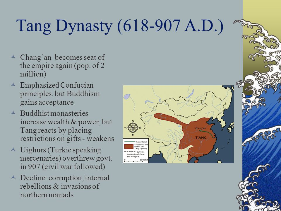Tang Dynasty (618-907 A.D.) Chang'an becomes seat of the empire again (pop.