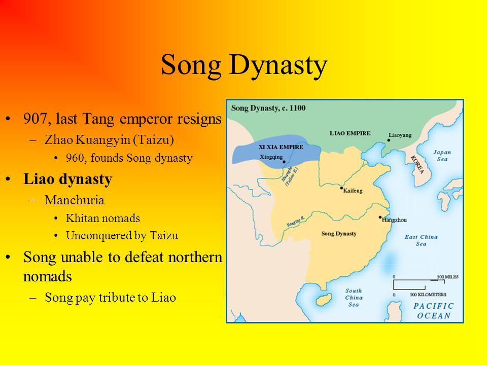 Song Dynasty 907, last Tang emperor resigns –Zhao Kuangyin (Taizu) 960, founds Song dynasty Liao dynasty –Manchuria Khitan nomads Unconquered by Taizu