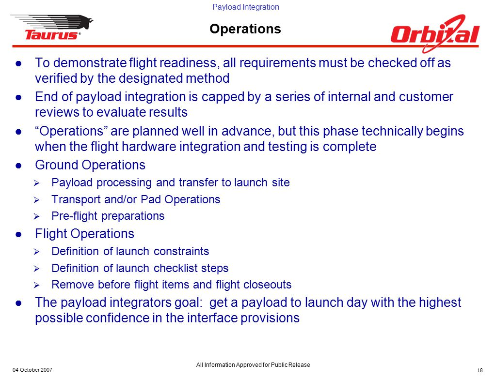 Payload Integration All Information Approved for Public Release 04 October 200718 Operations ●To demonstrate flight readiness, all requirements must b