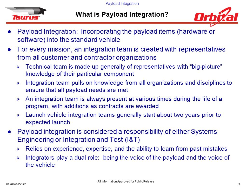 Payload Integration All Information Approved for Public Release 04 October 200714 Build and Implement Interface ●For procured components (from outside vendors)  Write subrequirements documents, hardware specifications, and contractual statements of work  Track progress of hardware and complete periodic verifications as required  Accept hardware when complete ●For manufactured components (made internally)  Ensure that manufactured hardware meets requirements through all stages of build process  Test all items at component level prior to acceptance of item ●All components or subsystems must be verified at the subsystem level prior to installation into a larger system