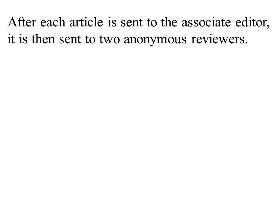 After each article is sent to the associate editor, it is then sent to two anonymous reviewers.