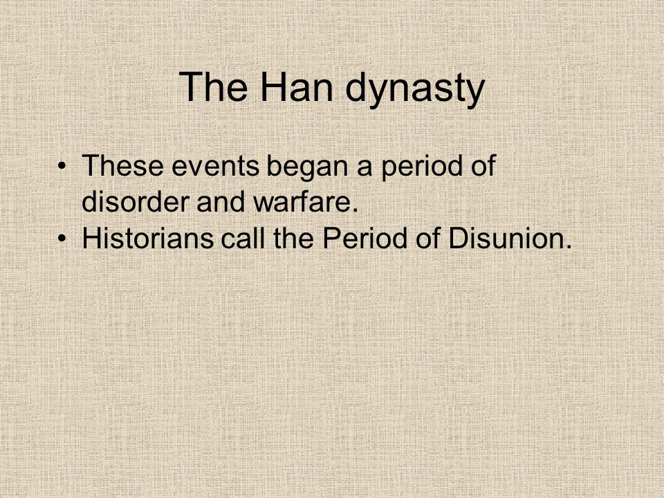 The Period of Disunion Nomads invaded northern China Formed their own kingdoms Many northern Chinese fled south to region of Yangtze River A number of southern dynasties rose, fell