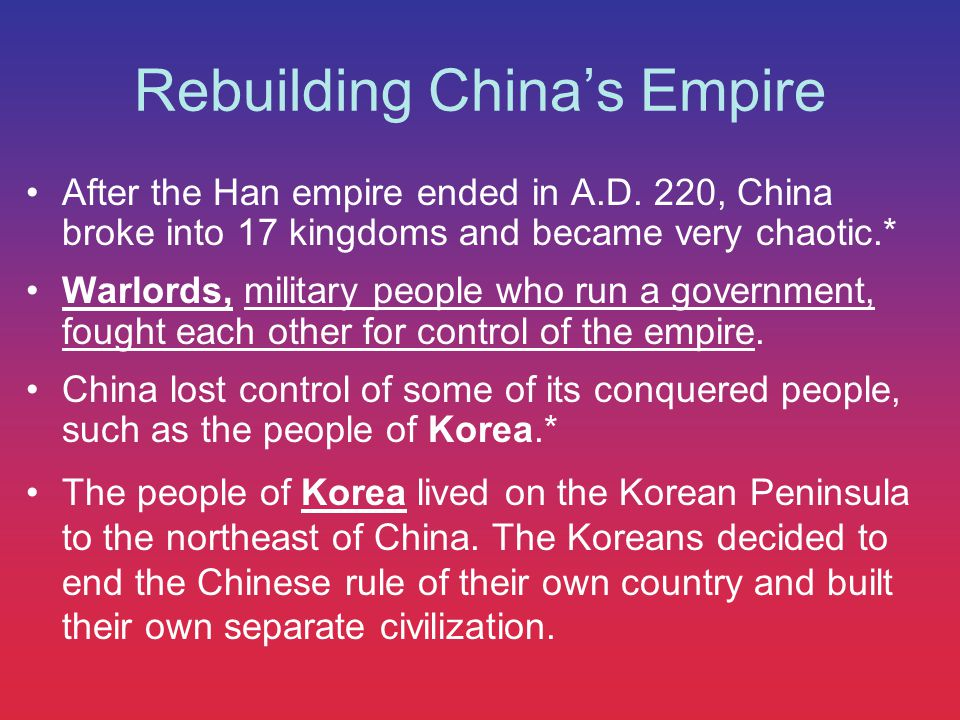 Rebuilding China's Empire The Song Dynasty Song rulers did not have enough soldiers to control their large empire.
