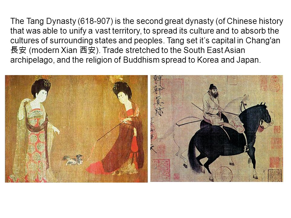 The Tang Dynasty (618-907) is the second great dynasty (of Chinese history that was able to unify a vast territory, to spread its culture and to absor