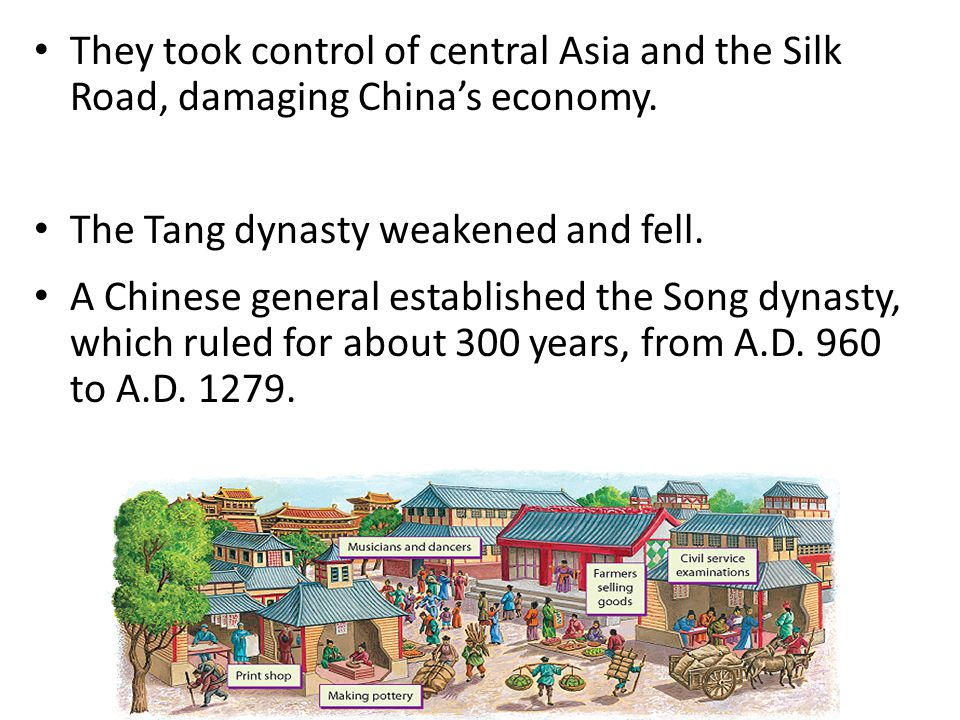 They took control of central Asia and the Silk Road, damaging China's economy. The Tang dynasty weakened and fell. A Chinese general established the S