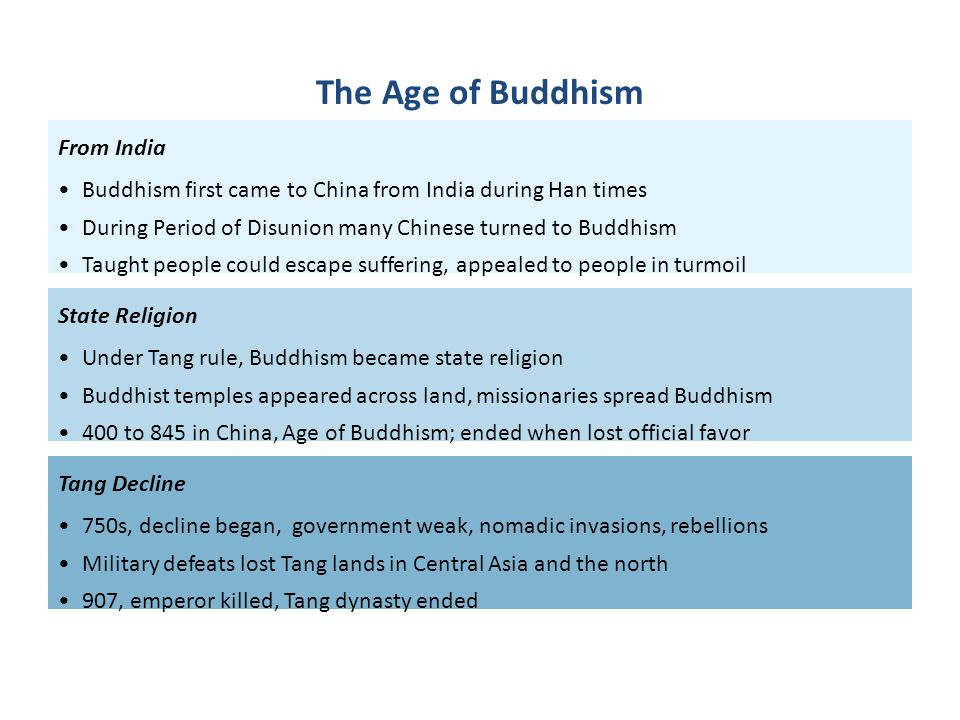 From India Buddhism first came to China from India during Han times During Period of Disunion many Chinese turned to Buddhism Taught people could esca