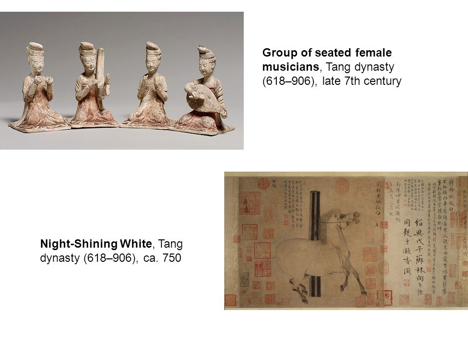 Group of seated female musicians, Tang dynasty (618–906), late 7th century Night-Shining White, Tang dynasty (618–906), ca.