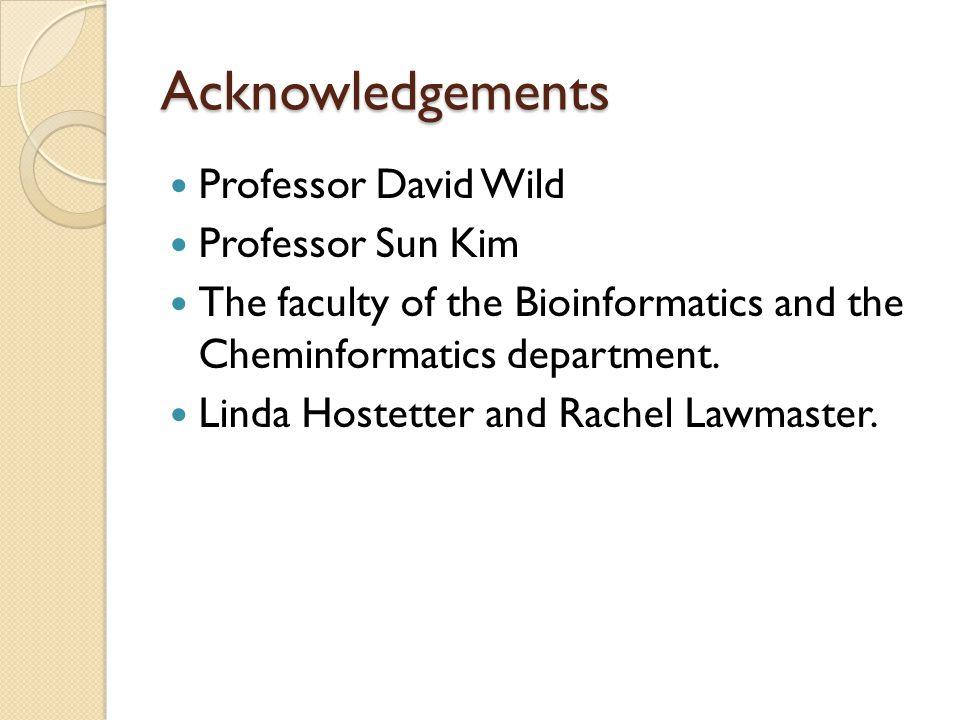 Acknowledgements Professor David Wild Professor Sun Kim The faculty of the Bioinformatics and the Cheminformatics department. Linda Hostetter and Rach