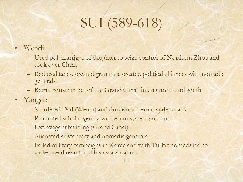 SUI (589-618) Wendi: –Used pol.