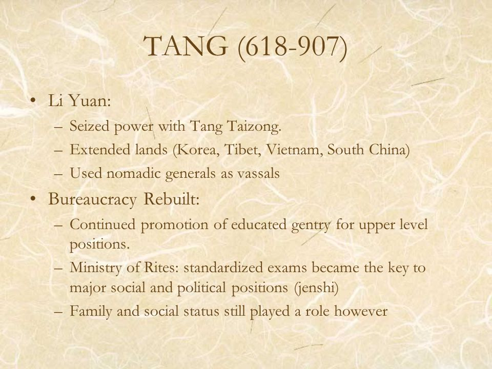 TANG (618-907) Impressive Transportation and Communications using roads, horses and even human runners Equal-field system: To avoid growing aristocratic land-holdings (worked for first century but declined due expanding population and corruption Buddhism promoted and attacked
