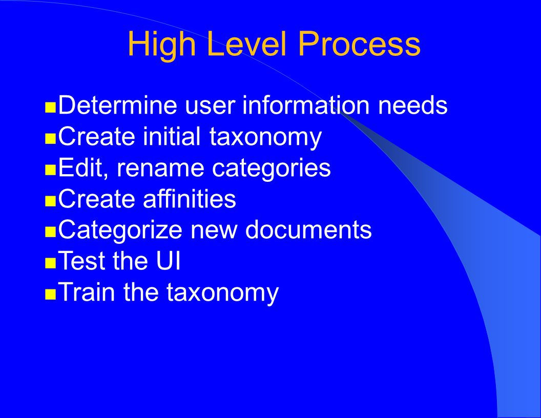 High Level Process Determine user information needs Create initial taxonomy Edit, rename categories Create affinities Categorize new documents Test the UI Train the taxonomy