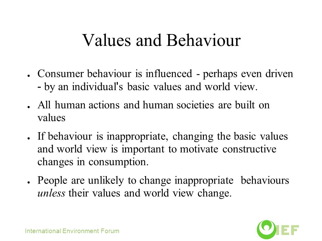 Values and Behaviour ● Consumer behaviour is influenced - perhaps even driven - by an individual s basic values and world view.