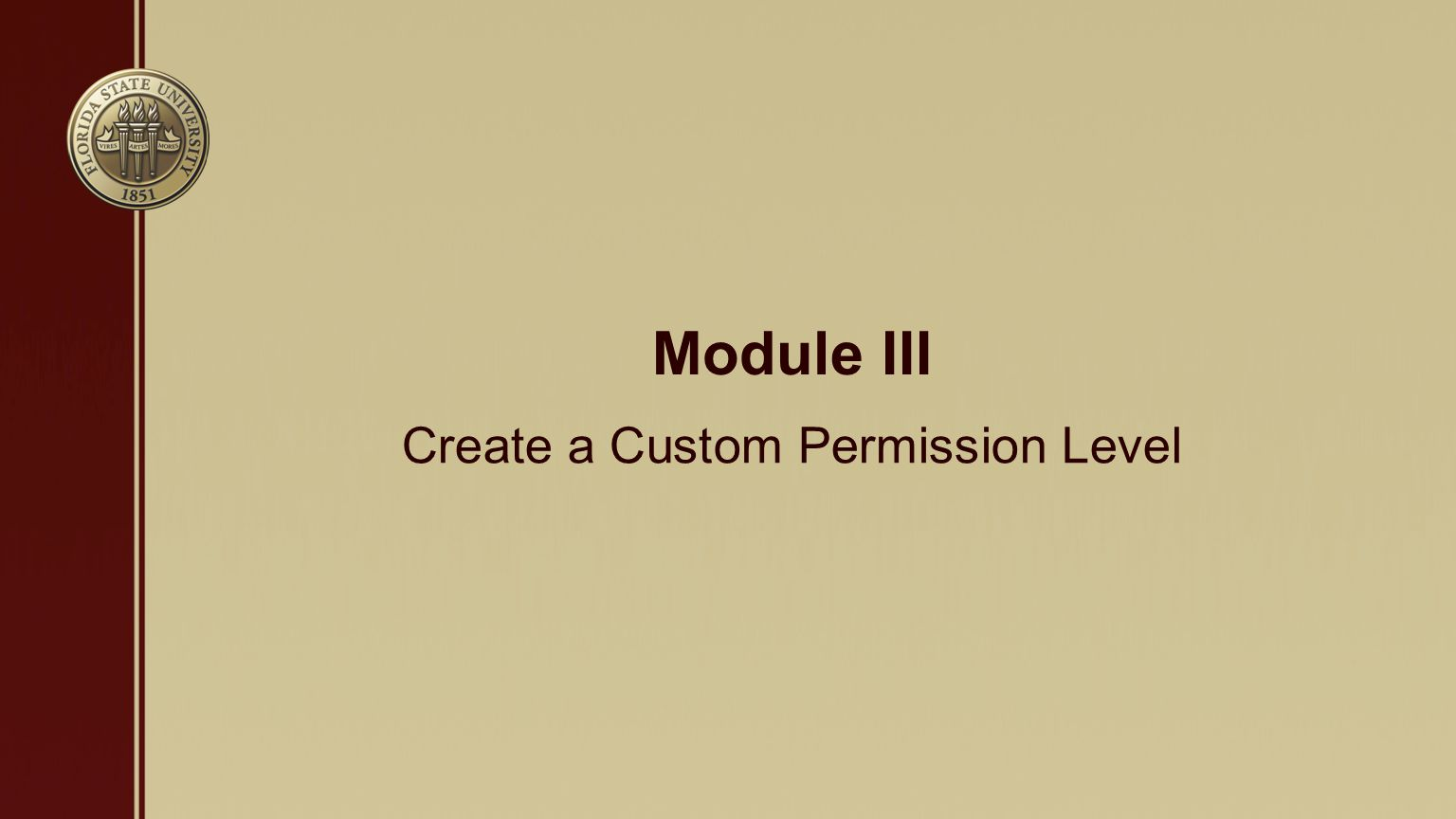 Module III Create a Custom Permission Level