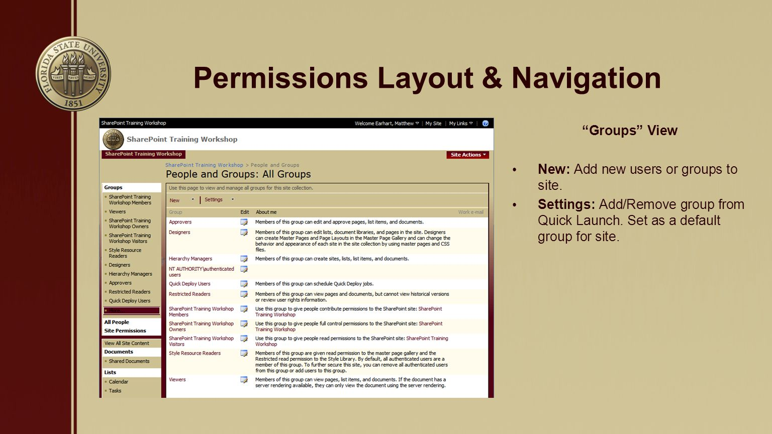 Permissions Layout & Navigation Site Permissions View New: Add new users or groups to site.