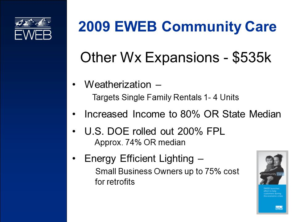 2009 EWEB Community Care Other Wx Expansions - $535k Weatherization – Targets Single Family Rentals 1- 4 Units Increased Income to 80% OR State Median U.S.