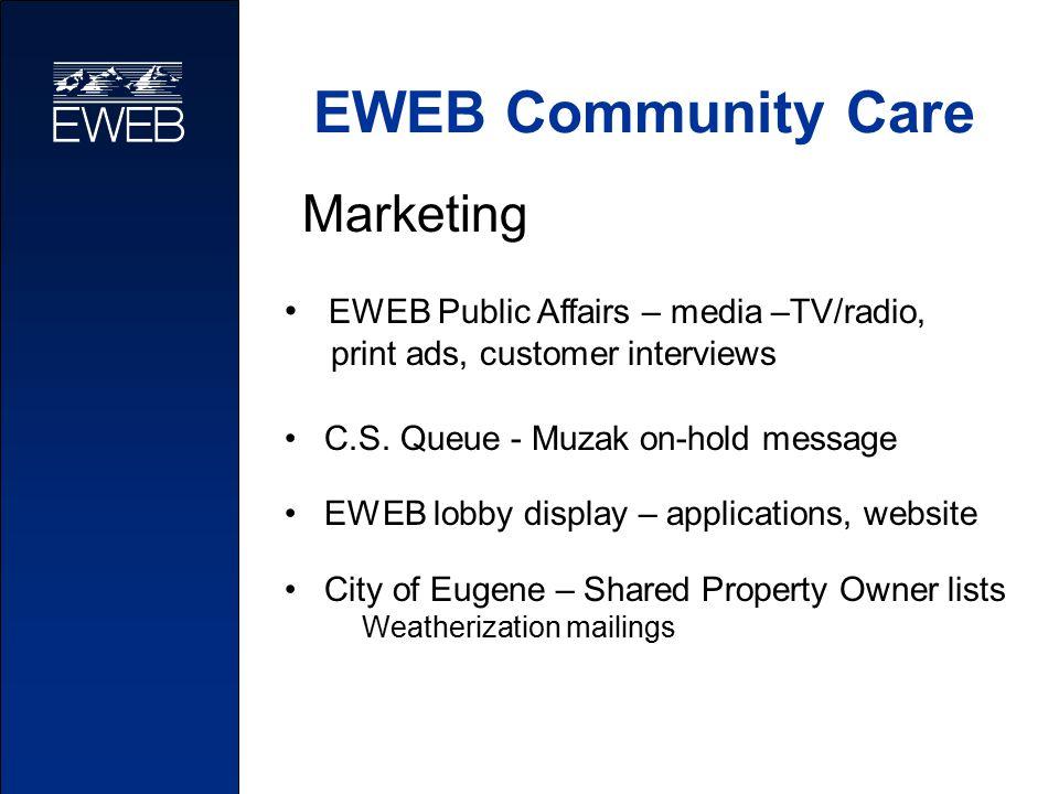 EWEB Community Care EWEB Public Affairs – media –TV/radio, print ads, customer interviews C.S. Queue - Muzak on-hold message EWEB lobby display – appl