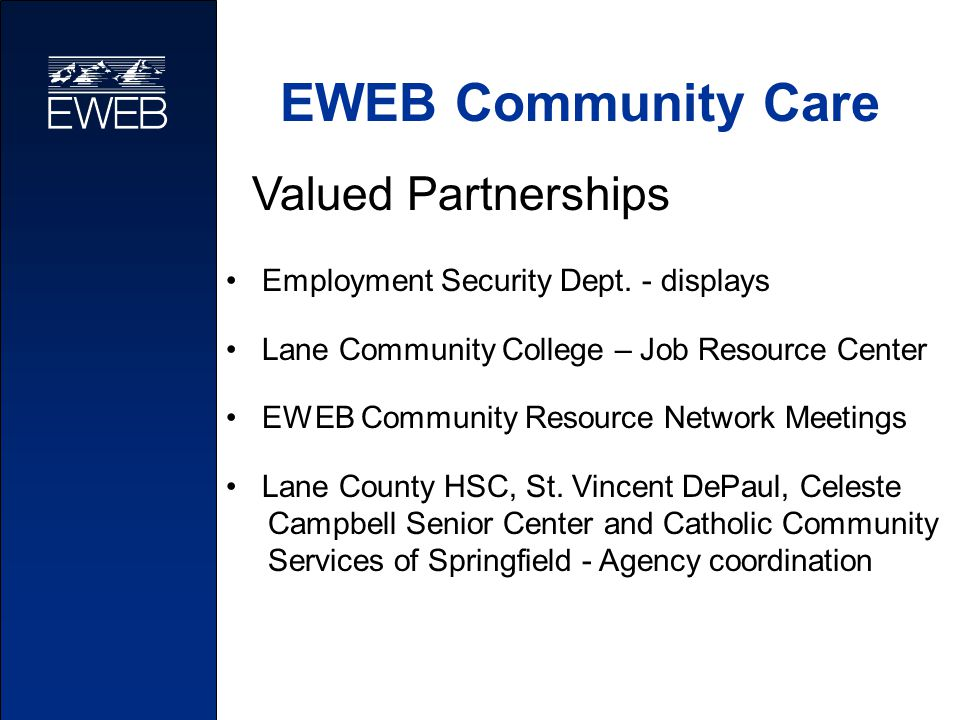 EWEB Community Care Valued Partnerships Employment Security Dept. - displays Lane Community College – Job Resource Center EWEB Community Resource Netw