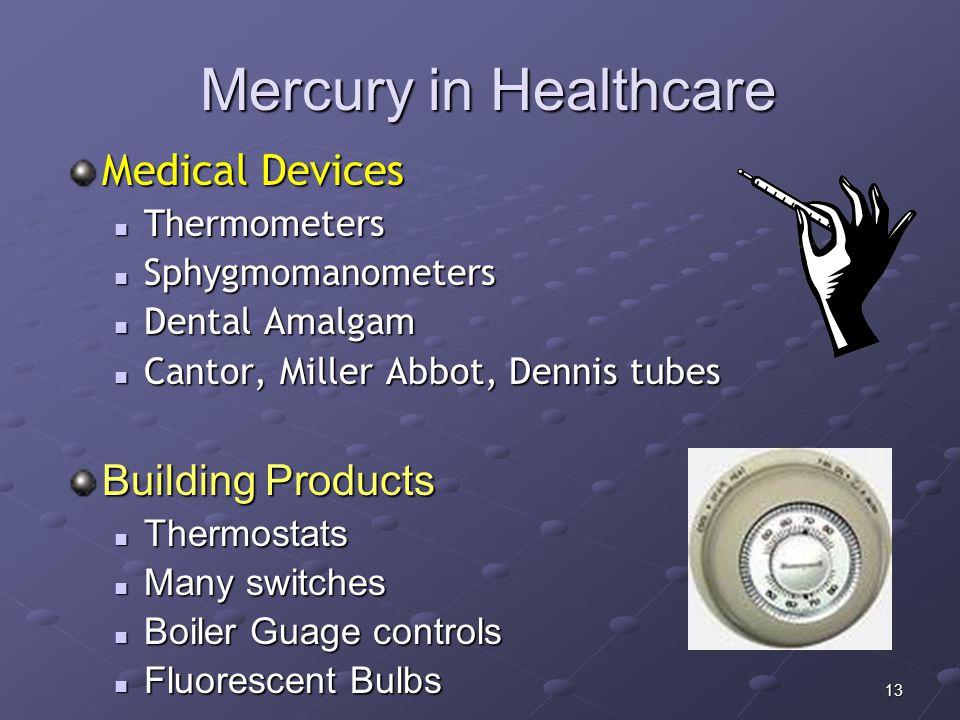 13 Mercury in Healthcare Medical Devices Thermometers Thermometers Sphygmomanometers Sphygmomanometers Dental Amalgam Dental Amalgam Cantor, Miller Ab