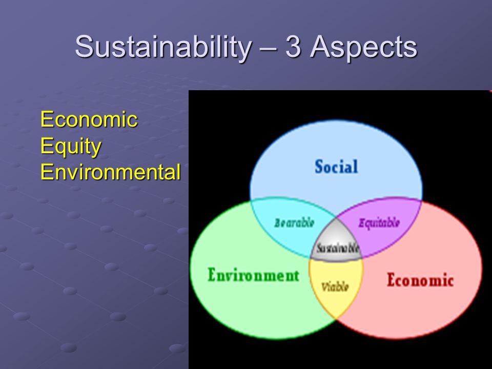 4 Sustainability – 3 Aspects EconomicEquityEnvironmental