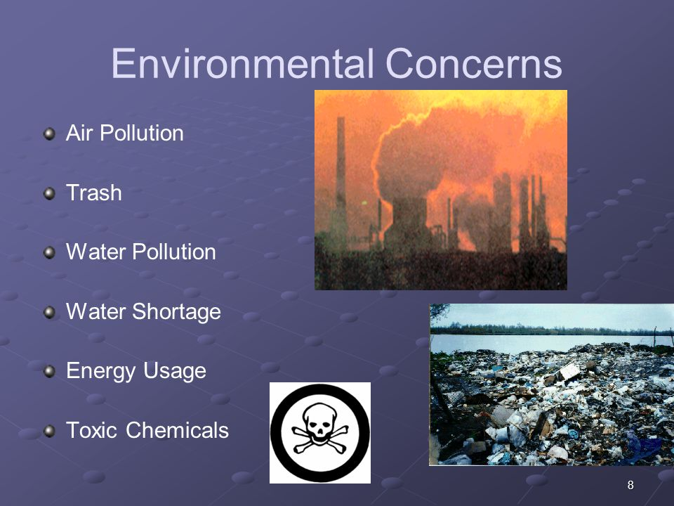 8 Environmental Concerns Air Pollution Trash Water Pollution Water Shortage Energy Usage Toxic Chemicals