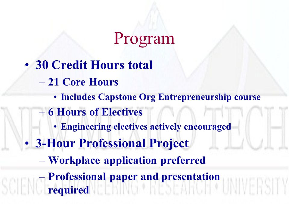 Program 30 Credit Hours total –21 Core Hours Includes Capstone Org Entrepreneurship course –6 Hours of Electives Engineering electives actively encouraged 3-Hour Professional Project –Workplace application preferred –Professional paper and presentation required