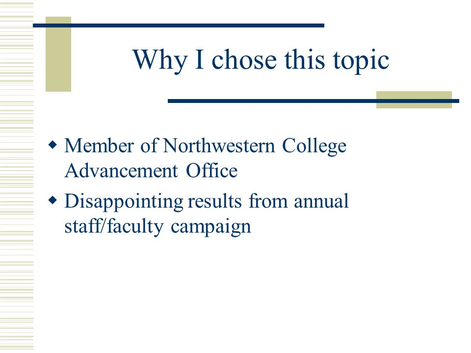 Why I chose this topic  Member of Northwestern College Advancement Office  Disappointing results from annual staff/faculty campaign