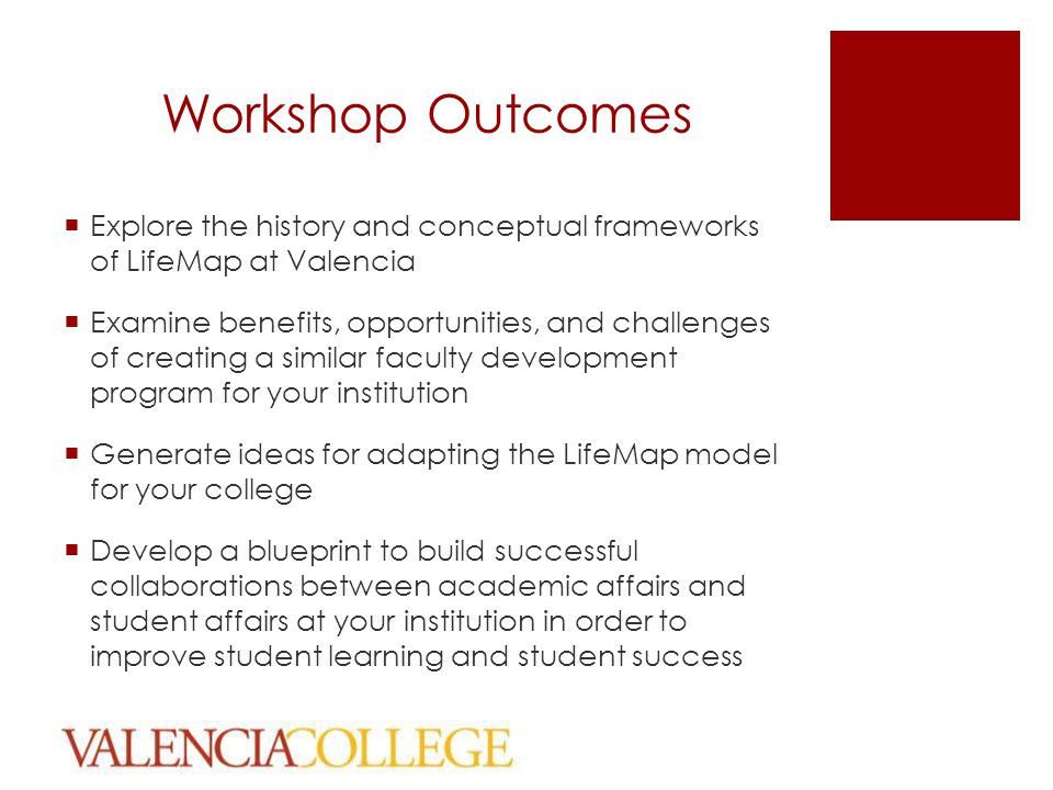 Workshop Outcomes  Explore the history and conceptual frameworks of LifeMap at Valencia  Examine benefits, opportunities, and challenges of creating