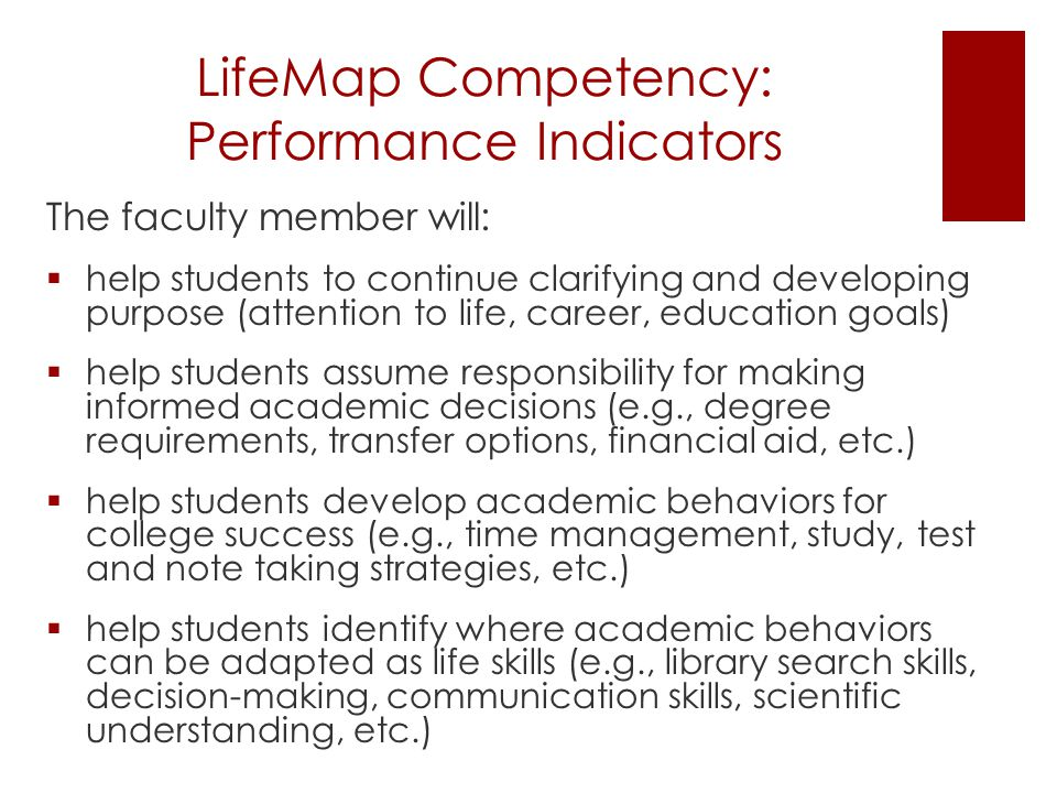LifeMap Competency: Performance Indicators The faculty member will:  help students to continue clarifying and developing purpose (attention to life, career, education goals)  help students assume responsibility for making informed academic decisions (e.g., degree requirements, transfer options, financial aid, etc.)  help students develop academic behaviors for college success (e.g., time management, study, test and note taking strategies, etc.)  help students identify where academic behaviors can be adapted as life skills (e.g., library search skills, decision-making, communication skills, scientific understanding, etc.)