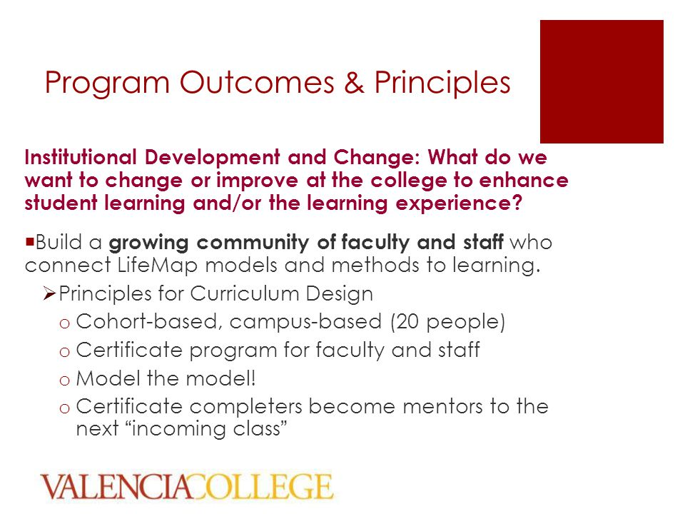 Program Outcomes & Principles Institutional Development and Change: What do we want to change or improve at the college to enhance student learning and/or the learning experience.