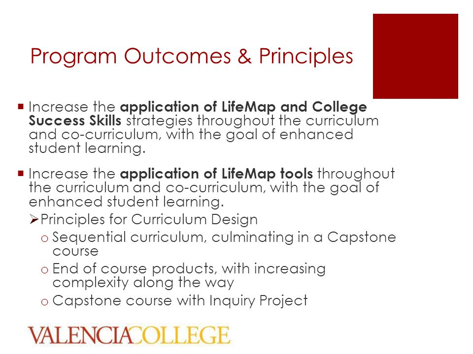 Program Outcomes & Principles  Increase the application of LifeMap and College Success Skills strategies throughout the curriculum and co-curriculum, with the goal of enhanced student learning.