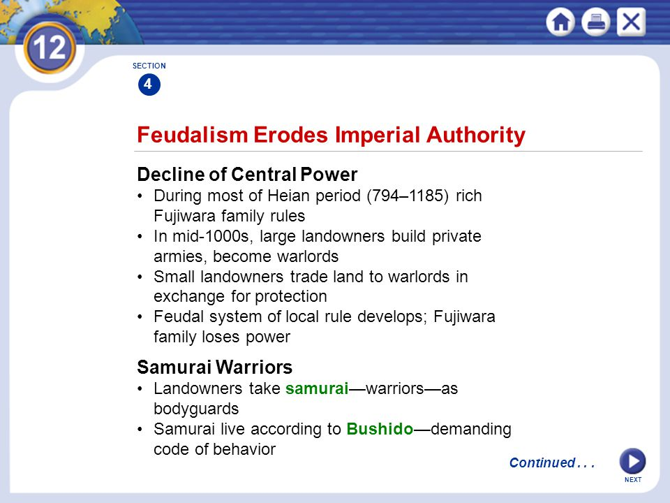 NEXT Feudalism Erodes Imperial Authority Decline of Central Power During most of Heian period (794–1185) rich Fujiwara family rules In mid-1000s, large landowners build private armies, become warlords Small landowners trade land to warlords in exchange for protection Feudal system of local rule develops; Fujiwara family loses power SECTION 4 Samurai Warriors Landowners take samurai—warriors—as bodyguards Samurai live according to Bushido—demanding code of behavior Continued...